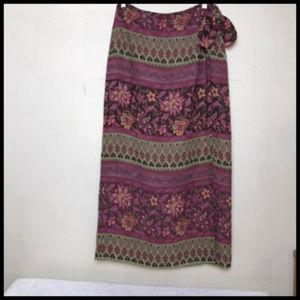 Boho Moroccan Print Wrap Maxi Skirt Size 6